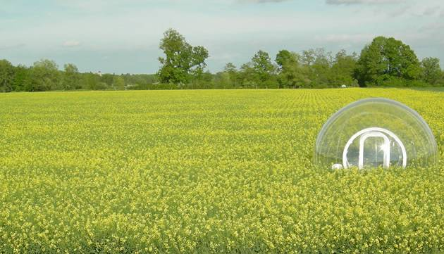 bubble hotel in field