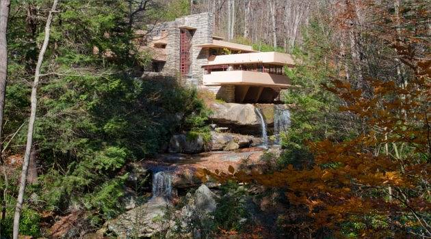 Concrete meets waterfall at Fallingwater