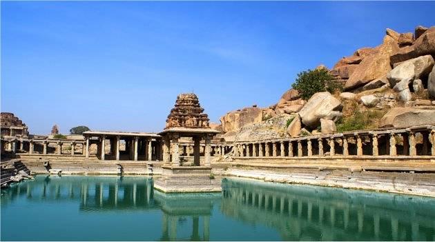 Ancient Temple and Lake, Hampi