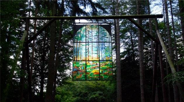 The Cathedral - free-standing stained glass in the woods