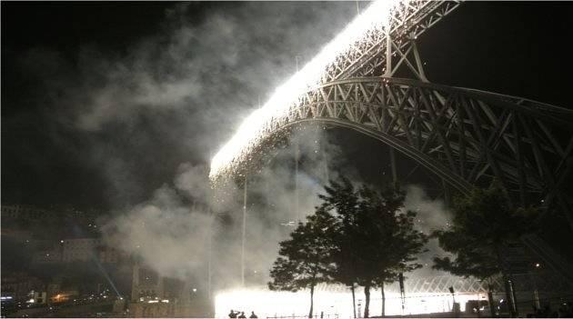 Fireworks being set off along the bridge