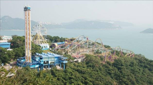 panorama of theme park and sea
