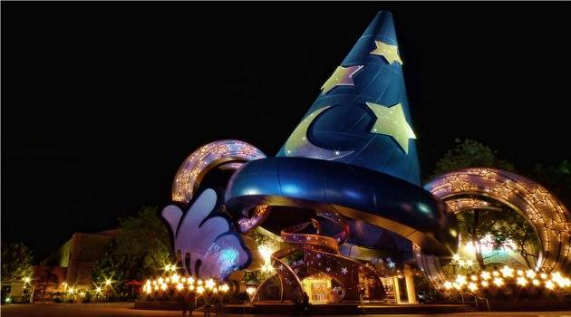 Wizard hat illuminated at night