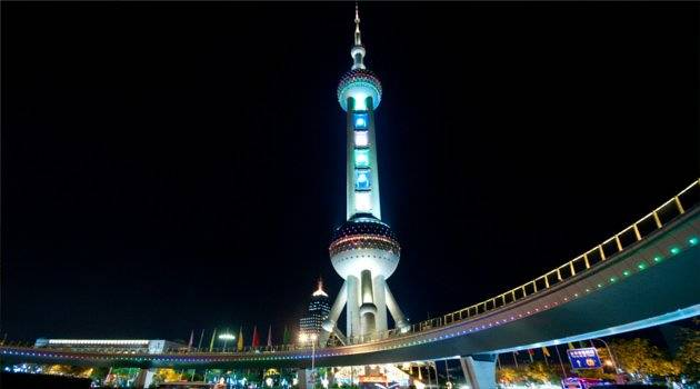 Illuminated Oriental Pearl TV Tower