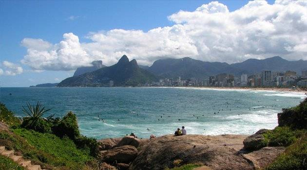 Ipanema Beach with Sugarloaf Mountains