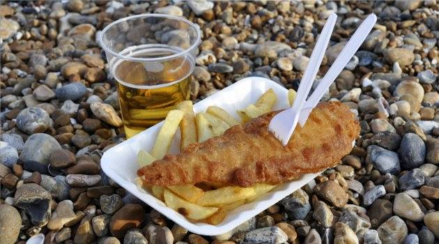 Fish, chips and a pint on Brighton's pebble beach