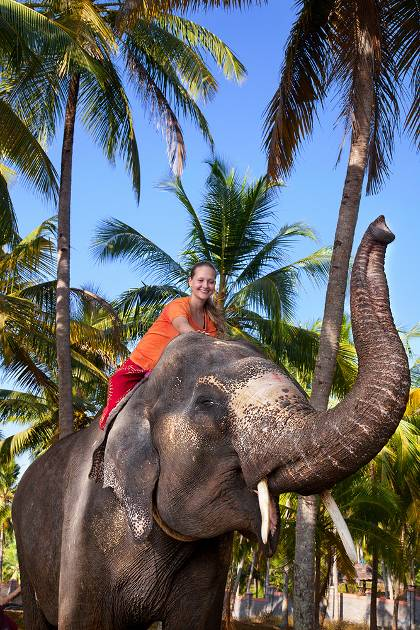 Woman riding an elephant in Kerala, India