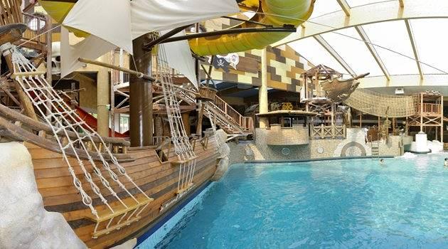 Swim past the pirate ship if you dare!