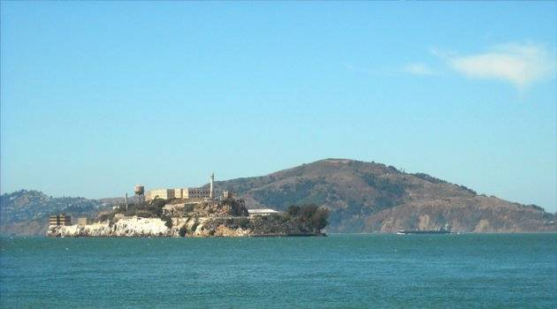 Alcatraz itself, on a barren and foreboding rock