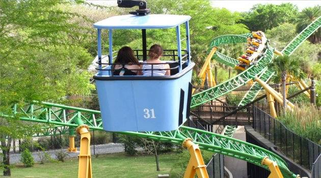 Cablecars soar over a rollercoaster through tropical trees