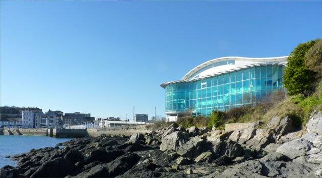 Beautiful turquoise exterior overlooking Plymouth harbour