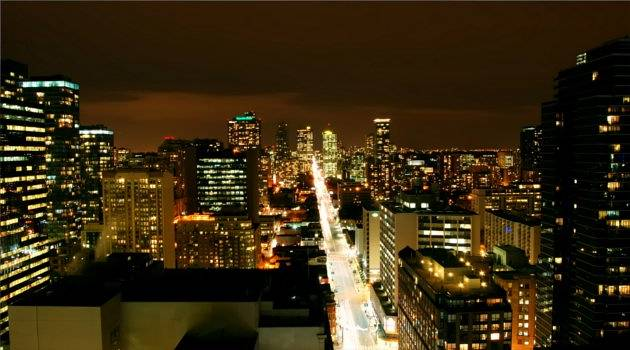 Yonge street lit bright by night